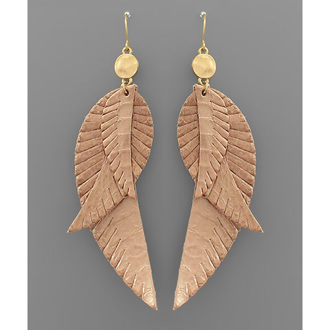 ROSEGOLD LAYER FEATHER EARRINGS