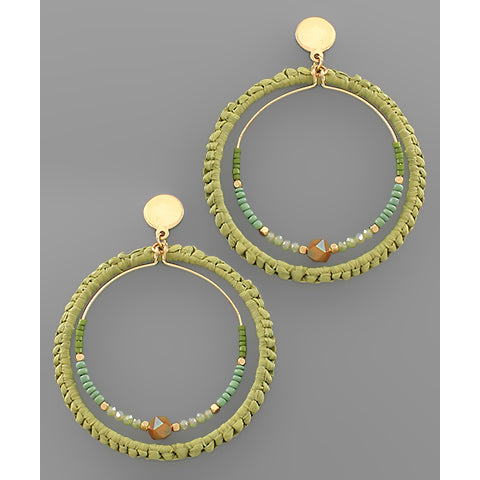 MINT WOVEN TEXTURE CIRCLE EARRINGS