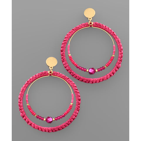 FUCHSIA WOVEN TEXTURE CIRCLE EARRINGS