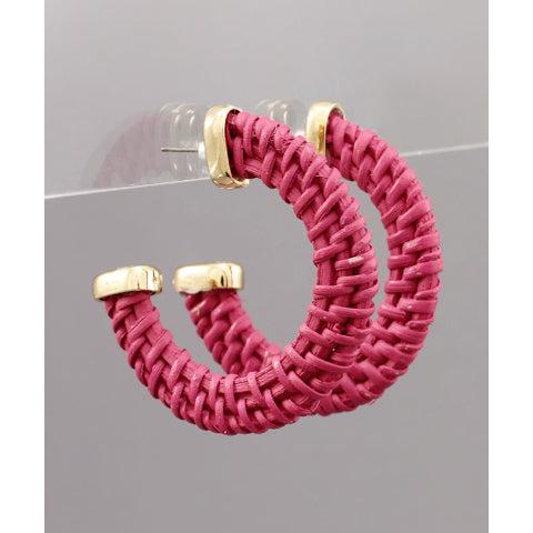 FUCHSIA WOVEN HOOP EARRINGS