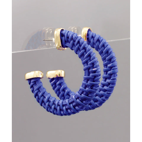 BLUE WOVEN HOOP EARRINGS