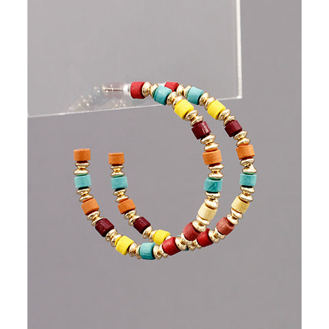 MULTI COLOR AND GOLD BEAD HOOPS