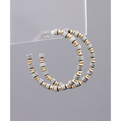 GRAY AND GOLD BEAD HOOPS