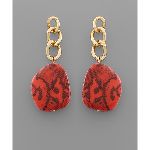 GOLD AND RED SNAKE EARRINGS