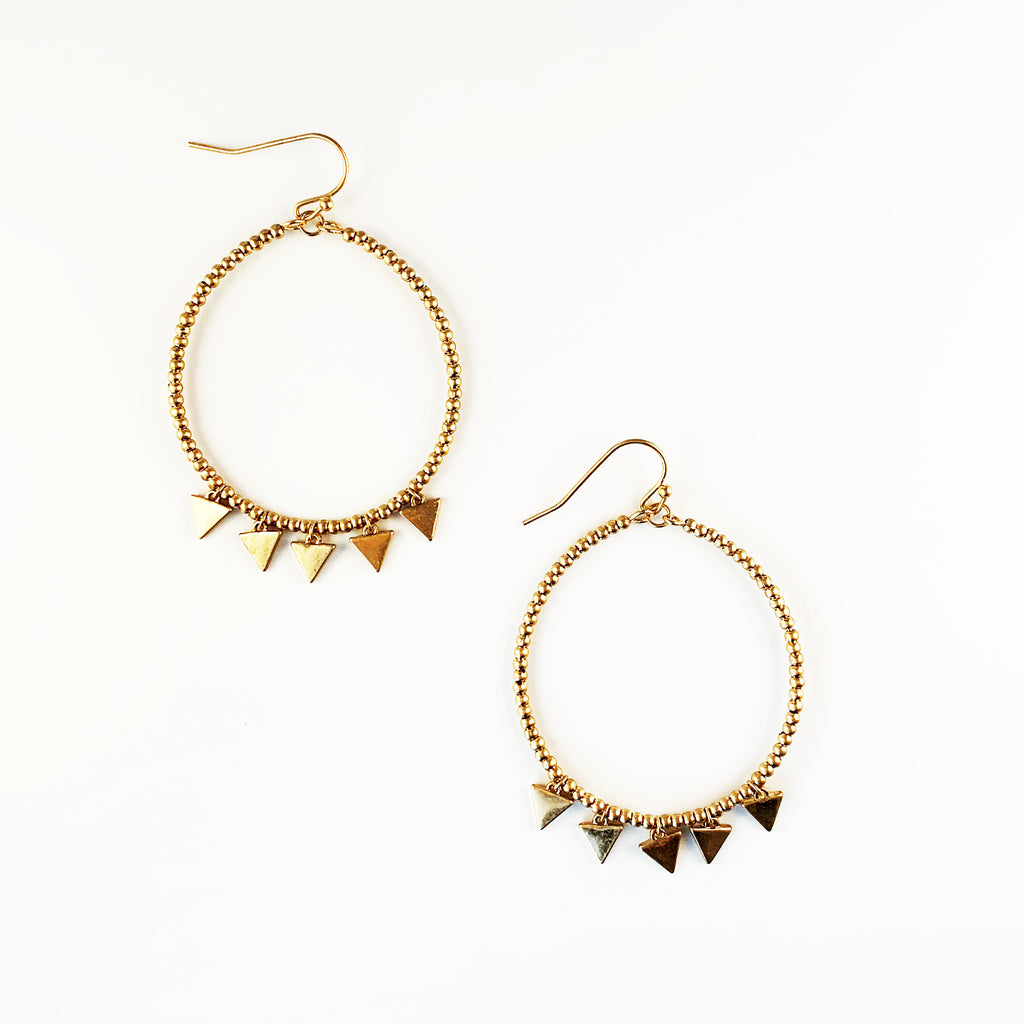Triangle Charm Circle Earrings