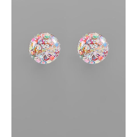 Pastel Multicolor Glitter Flake Ball Earrings