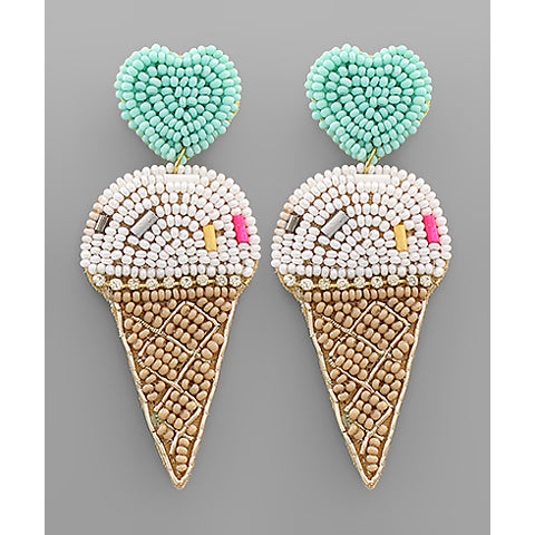 White Beaded Ice Cream & Heart Earrings