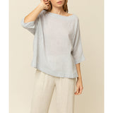 GRADE & GATHER - MICRO STRIPE BOXY BLOUSE