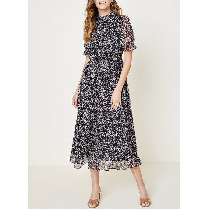 Hayden - Printed Smock Neck Midi Dress