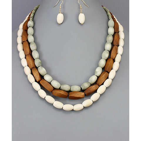 Natural Wooden Beaded Necklace