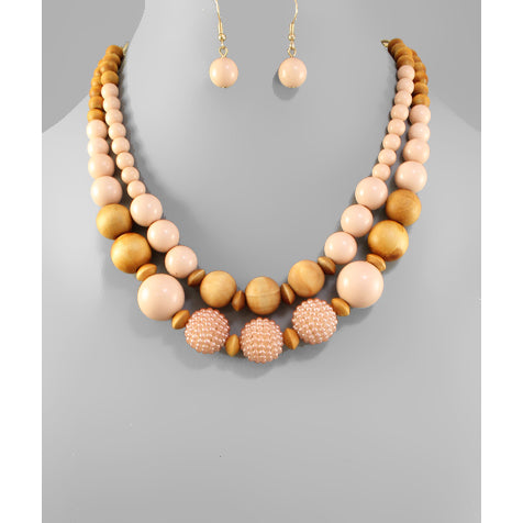Dusty Pink Wooden Beaded Necklace