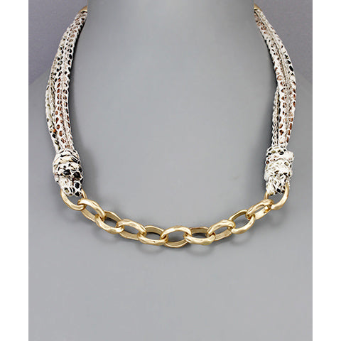 Snakeskin corded gold chain necklace