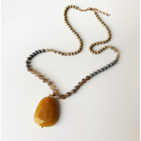 Stone Pendant Beaded Necklace