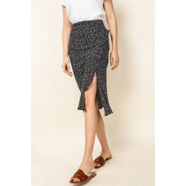THML - Ruffled Slit Print Skirt - Black