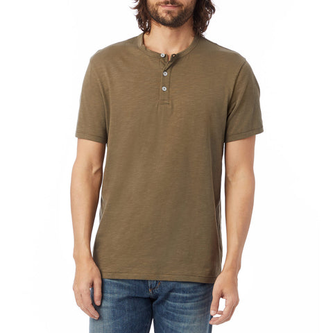 Alternative Apparel - Weathered Slub Henley Shirt - Dark Olive