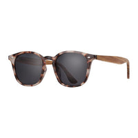 Blue Planet Eco-Eyewear - Gridley - Ivory Tortoise / Walnut Wood + Smoke Polarized Lens