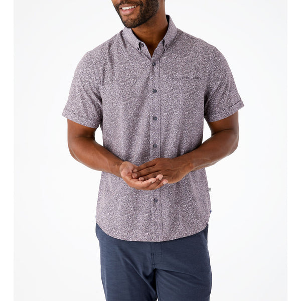 7 Diamonds - At First Sight 4-Way Stretch Short Sleeve Shirt - Mulberry