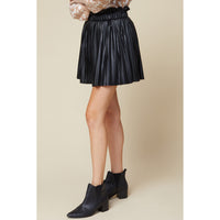 Entro - Faux Leather Pleated Skirt - Black
