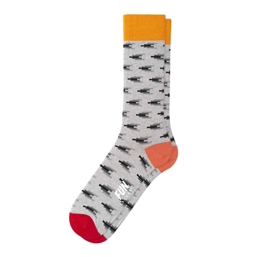 Fun Socks - Mini Ikat Crew Socks - Grey Orange