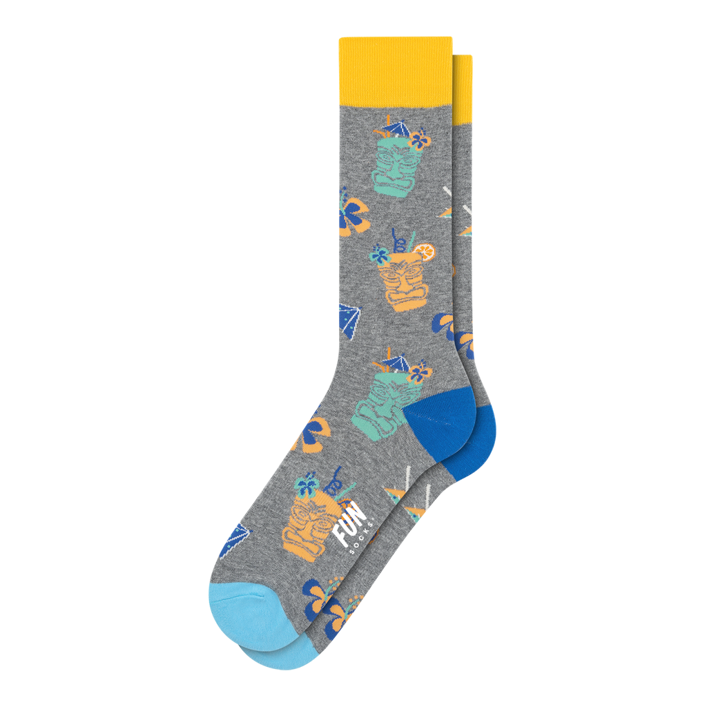 Fun Socks - Tiki Drinks Crew Socks - Medium Grey