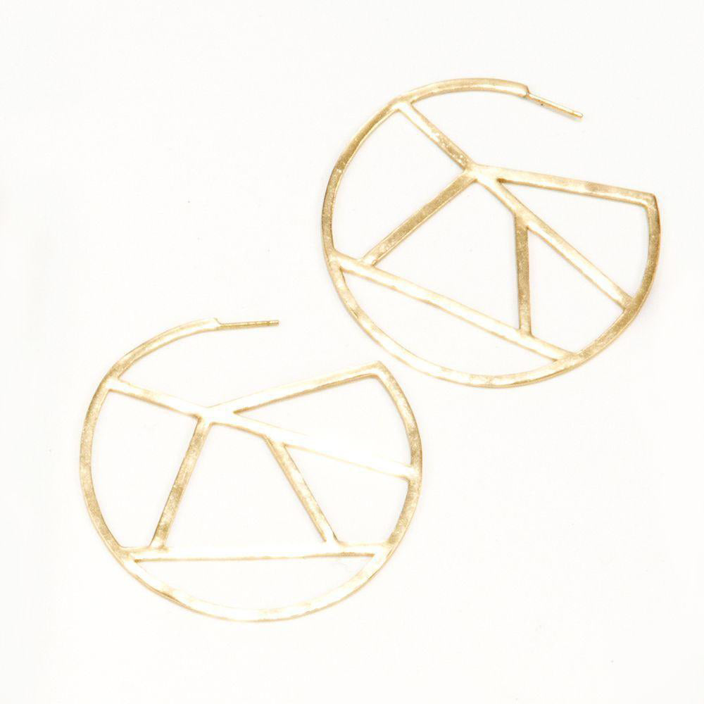 Ink + Alloy - Brass Stained Glass Circle Earrings