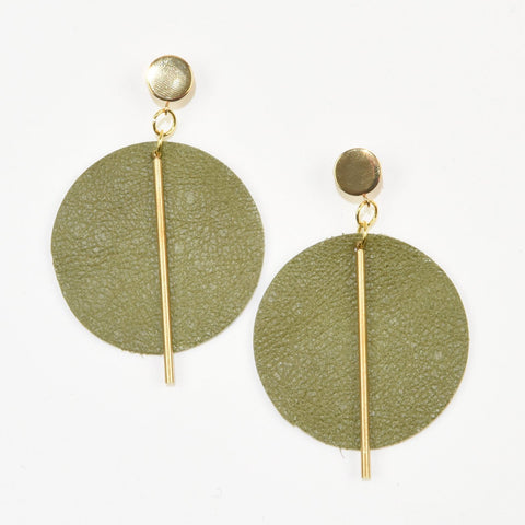 Ink+Alloy earrings - Olive leather circle with brass post 3""