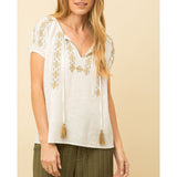 Mystree - Embroidered Peasant Top