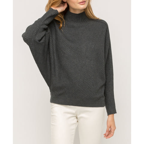Mystree - Ribbed Mocked Neck Sweater - Charcoal