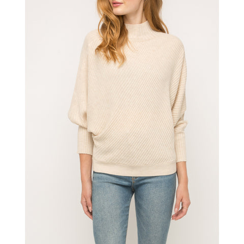 Mystree - Ribbed Mocked Neck Sweater - Cream