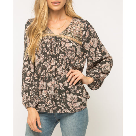 Mystree - Washed Out Floral Print Embroidered Neck Blouse