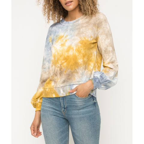 Mystree - Tie Dye Balloon Sleeve Terry Pullover