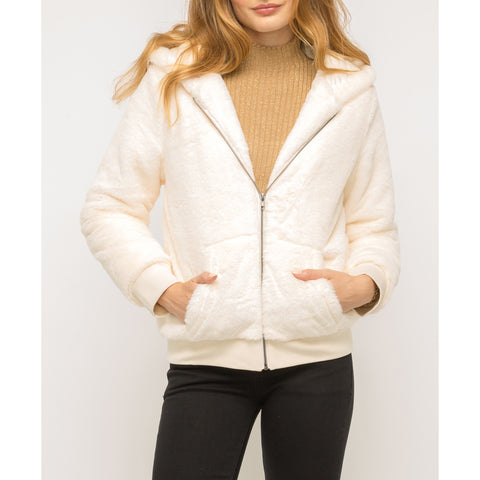 Mystree - Hooded Zip Up Fur Jacket