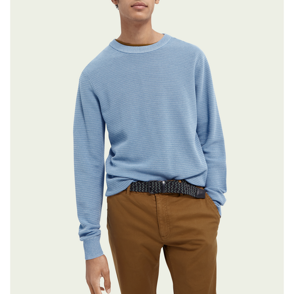 Scotch & Soda - Crewneck Structured Knit Sweater - Seaside Blue Melange