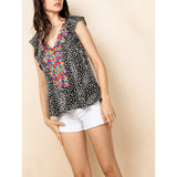 THML - Cheetah Print Blouse - Black