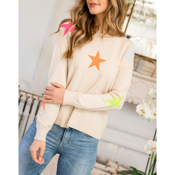 THML - Multicolor Star Sweater - Beige