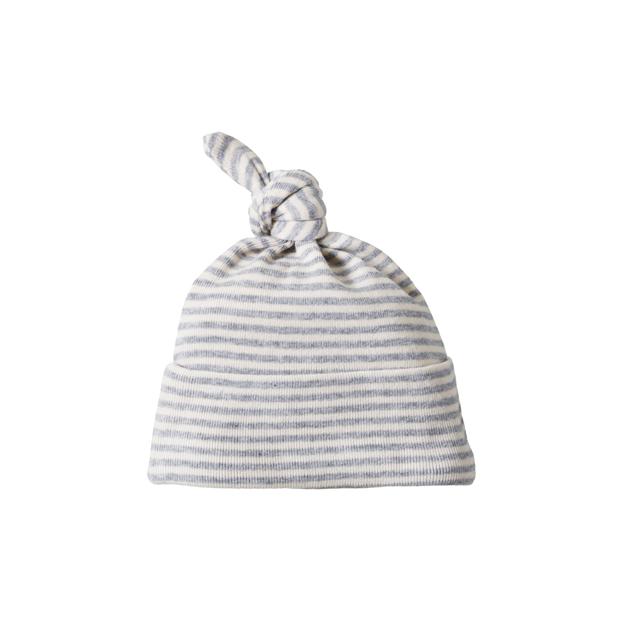 Nature Baby Knotted Beanie in Grey Marl Stripe