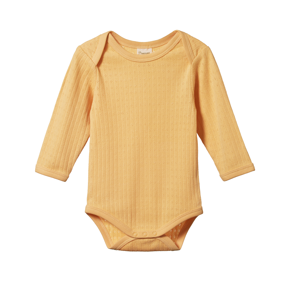 Nature Baby Pointelle Bodysuit with Long Sleeve in Lemon