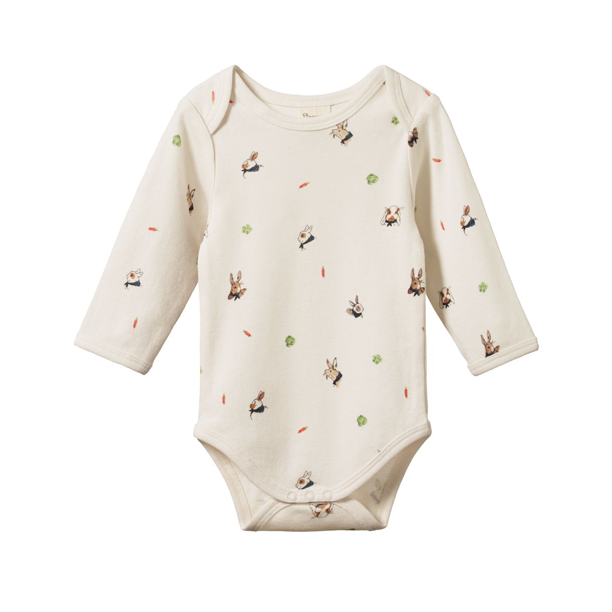 Nature Baby Long Sleeved Bodysuit - Bunny Garden Print
