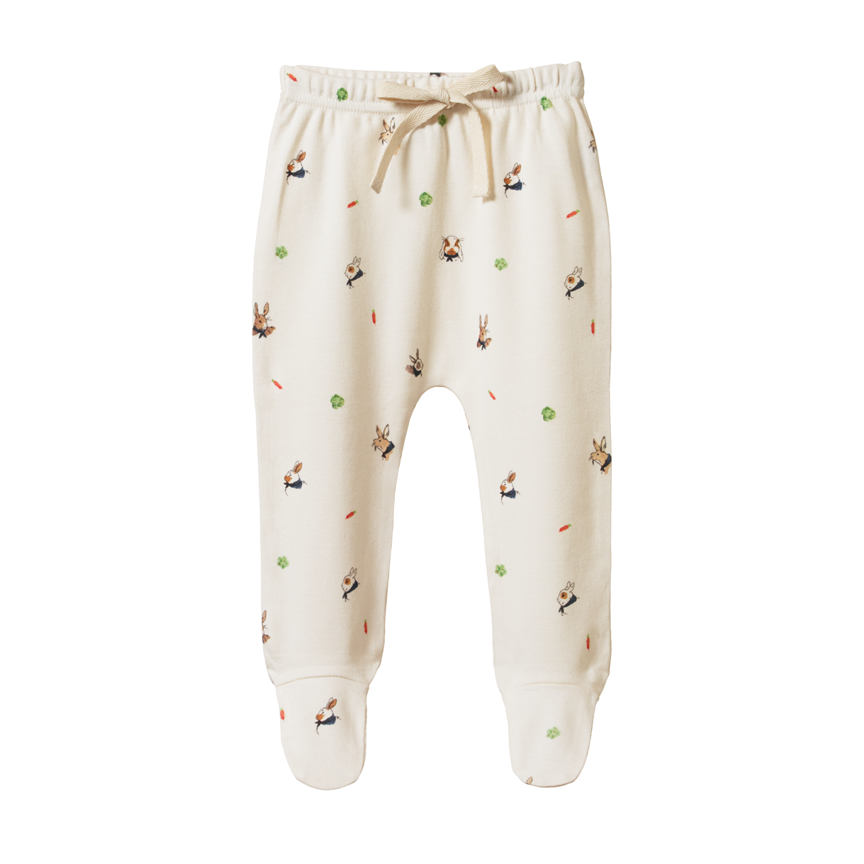 Nature Baby Footed Romper Bunny Garden Print