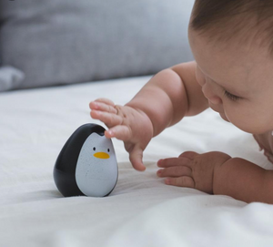 Plan Toy Penguin being played with by baby