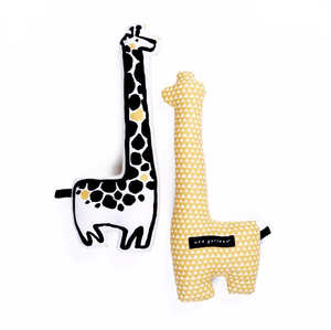Wee Gallery Throw Pillow shaped like a Giraffe, front and back