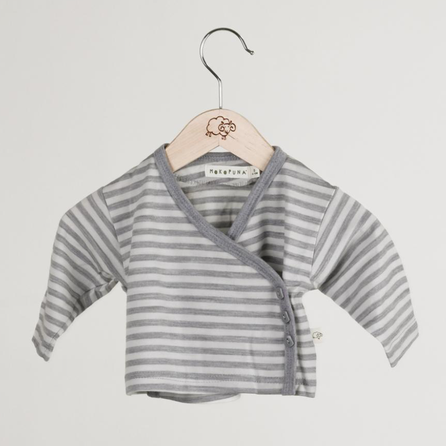 Mokopuna Cardigan in cloudy bay stripe, cream and grey