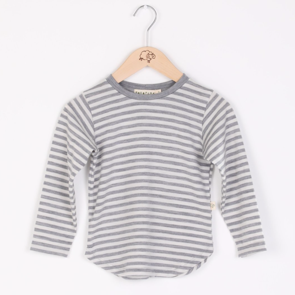 Mokopuna Long sleeve tee shirt, in cloudy bay design