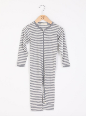 Mokopuna all in one zip front bodysuit, in cloudy bay stripe