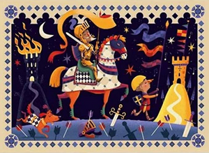 Djeco Silhouette Puzzle in Don Quichotte  design, completed puzzle picture