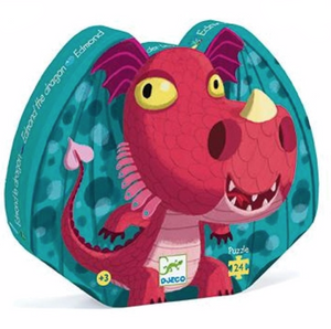 Djeco Silhouette Puzzle in Edmond the Dragon  design, shaped box