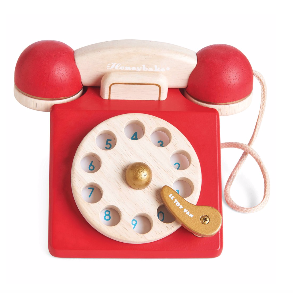 Honeybake Wooden Toy Vintage Red Phone