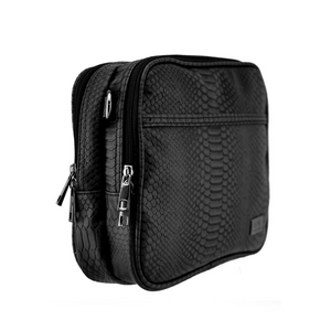 Isoki Finley Crossover Bag, in Black Mumba colour, side view