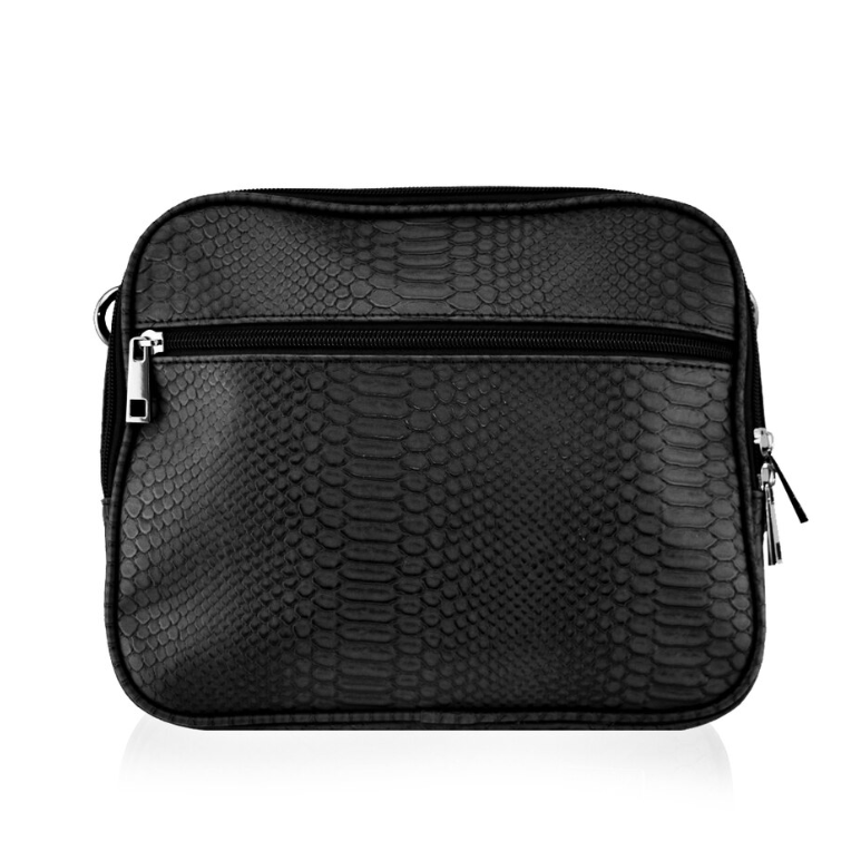 Isoki Finley Crossover Bag, in Black Mumba colour, front view