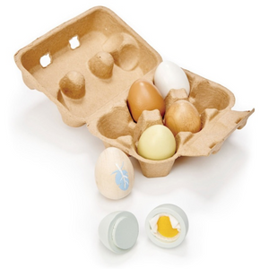 Tender Leaf brand, 6 wooden eggs in a cardboard egg box. One cracks open to show the felt egg